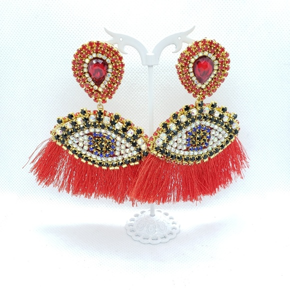 Jewelry - Eye drop tassel drop earrings women , new jewelry